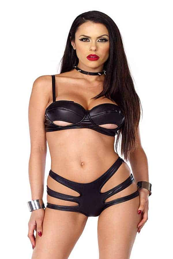 Forplay faux leather soft cup bra and strappy panty 665326 front