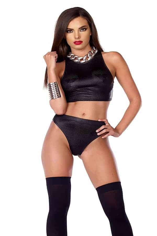 Forplay Perforated Faux Leather Crop Top and Thong 665344 front