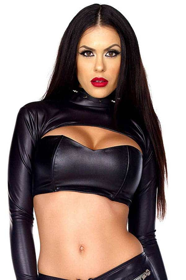 Forplay Faux leather bolero top 665303 front