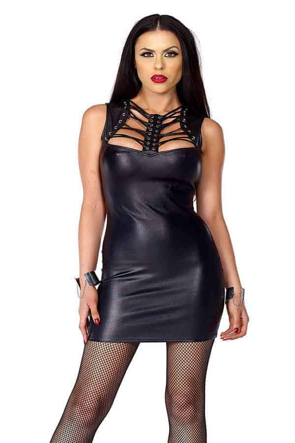Forplay Faux Leather Mini Dress 665320 front 2