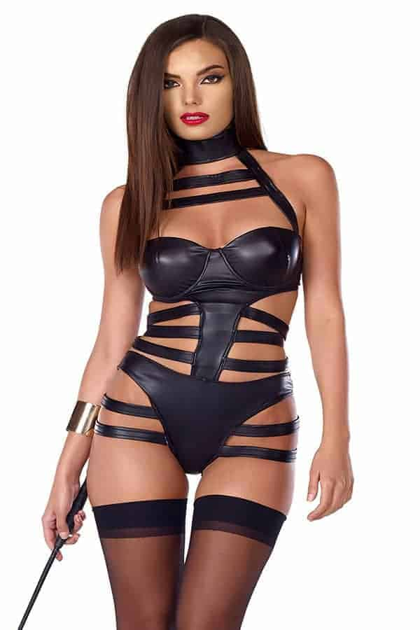 Forplay faux leather halter bodysuit 665338 front