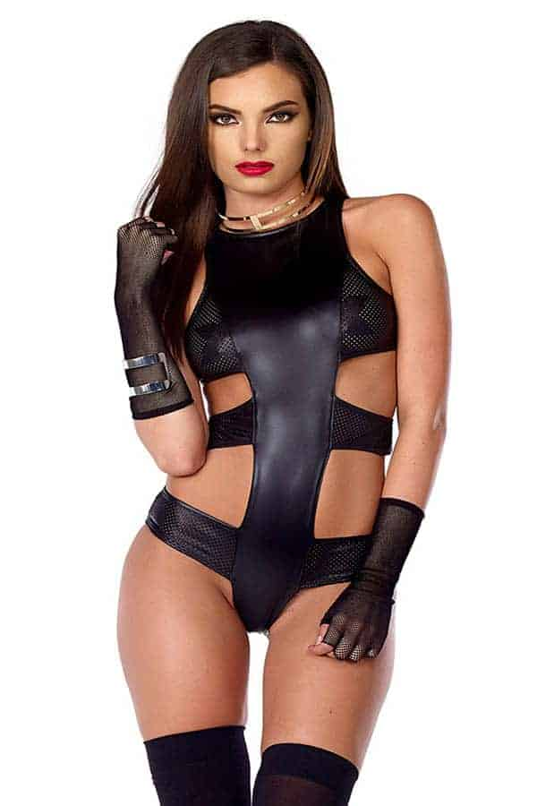 Forplay faux leather strappy perforated bodysuit 665346 front