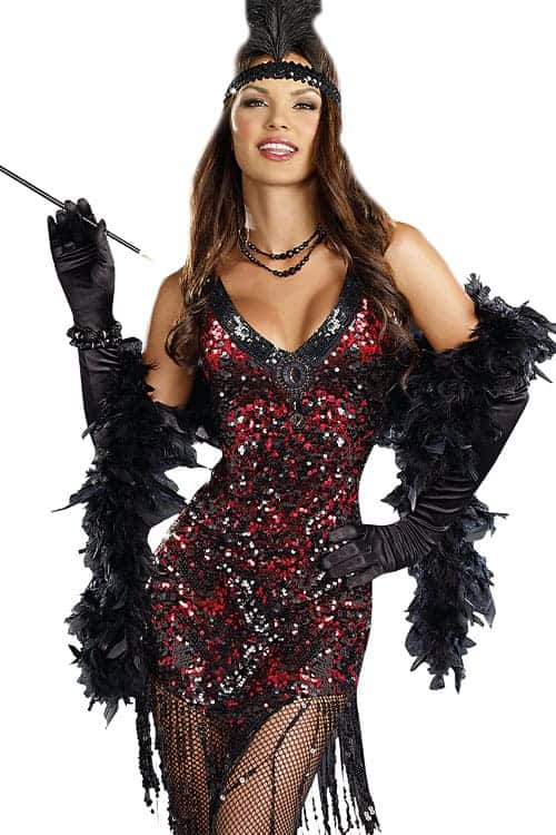 Dreamgirl 2 Pce Red Flapper Costume front