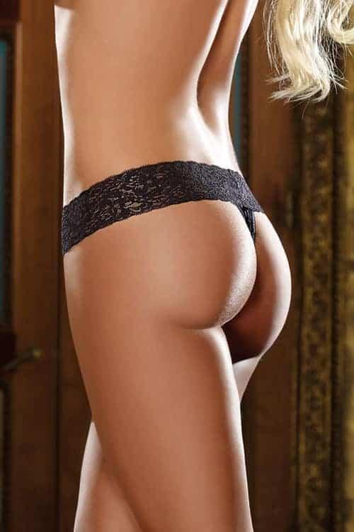 Dreamgirl Black Lace Thong back