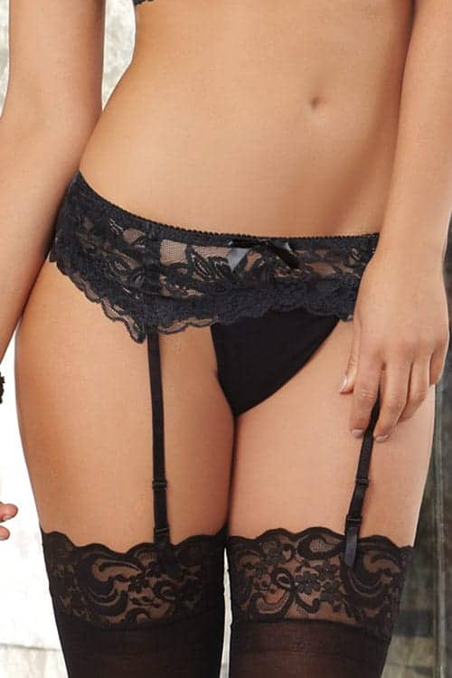 Dreamgirl Black Lace Garter Belt front