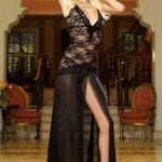 Dreamgirl Lace Gown with Thong fv2