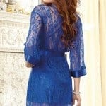 Dreamgirl Lacy Kimono Blue Robe with Chemise bv