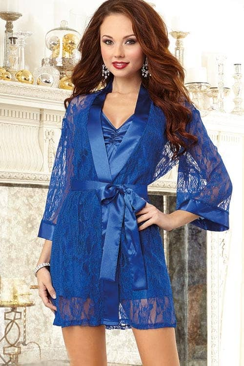 Dreamgirl Lacy Kimono Robe with Chemise front