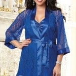 Dreamgirl Lacy Kimono Blue Robe with Chemise fv2