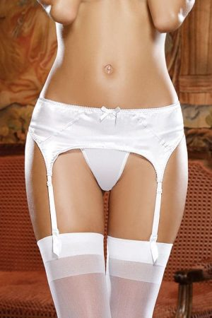 Dreamgirl Luxe White Garter Belt front