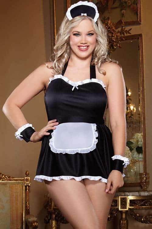 Dreamgirl Maid Me Dirty 4 Pce Costume Plus Size front