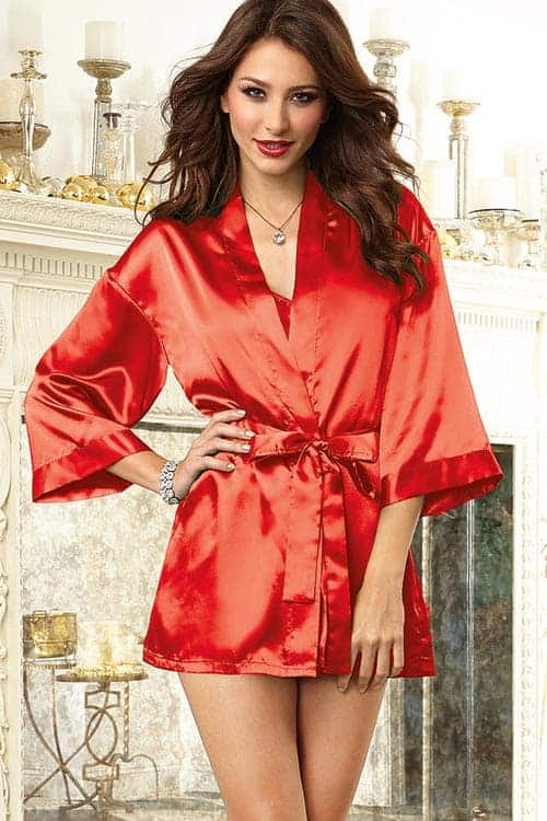 Dreamgirl Red Satin Chemise with Robe front