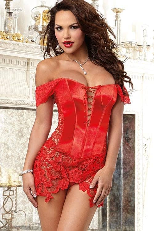 Dreamgirl Red Satin Corset with Thong front
