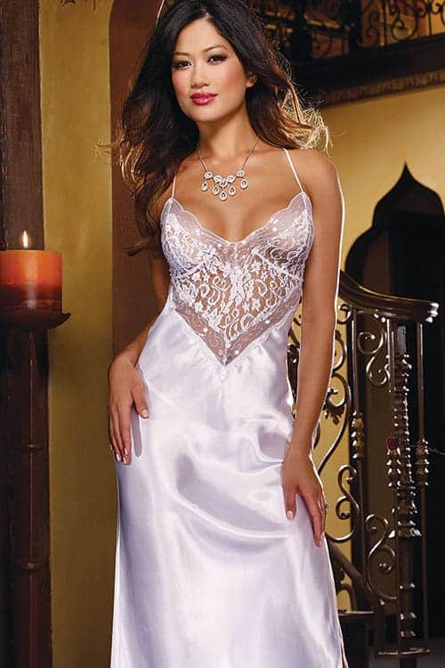 Dreamgirl Satin and Lace Gown with G String front
