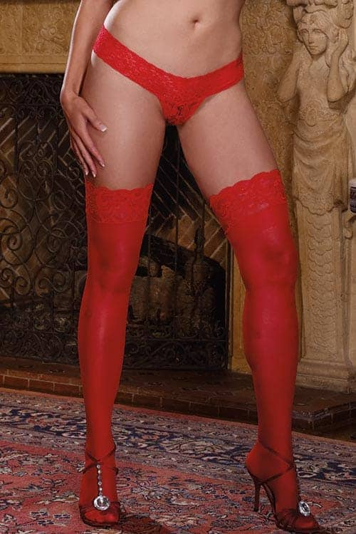 Dreamgirl Sheer Red Thigh High with Lace Top front 2