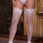 Dreamgirl Sheer White Thigh High with Lace Top fv2