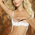 Dreamgirl White Lace Shelf Bra fv