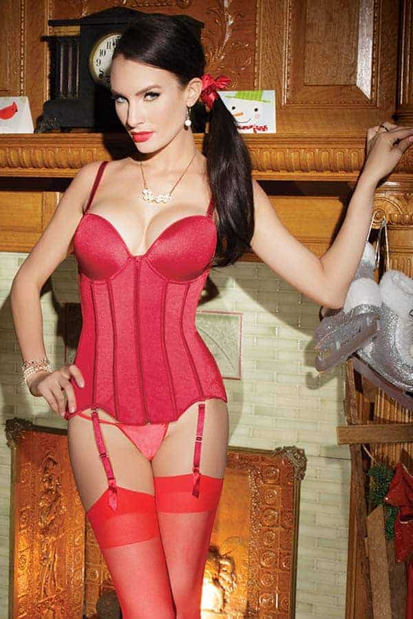 Coquette Red Stretch Knit Bustier CQ3730 red front
