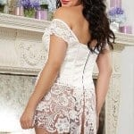 Dreamgirl White Satin Corset with Thong bv2