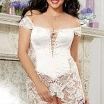 Dreamgirl White Satin Corset with Thong fv2