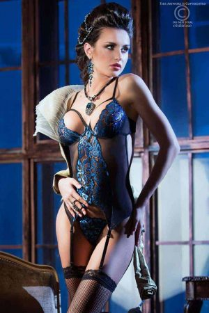 Chilirose Blue Lace Guepiere and Thong CR3845 fv