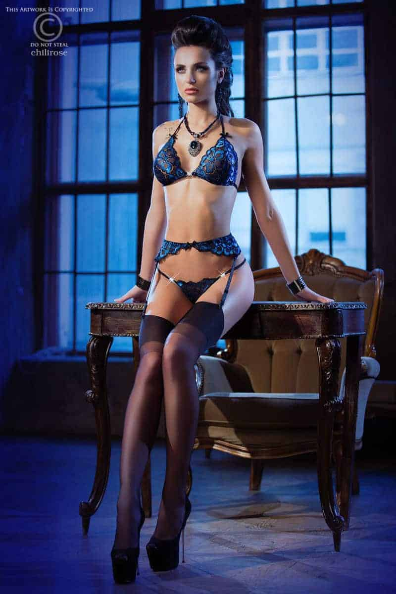 Chilirose Blue Lace Lingerie Set CR3846 fv