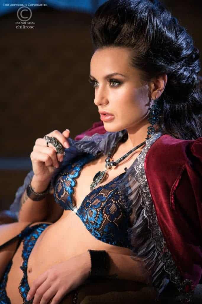 Chilirose Blue Lace Lingerie Set CR3846 fv2