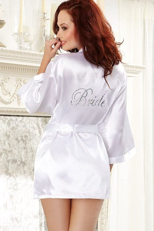 "Dreamgirl Satin ""Bride"" Robe 6278 back 2"