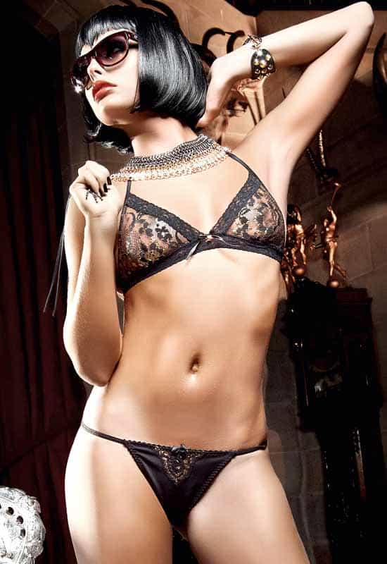 Baci Black Glitter Lace Bra and Thong front