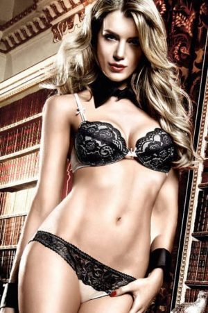 Baci Champagne Panties With Black Lace front