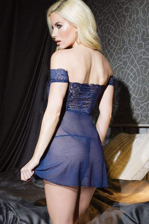 Coquette Off the Shoulder Lace Babydoll CQ7082 back