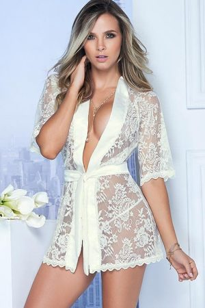 Mapale Classic White Lace Robe front