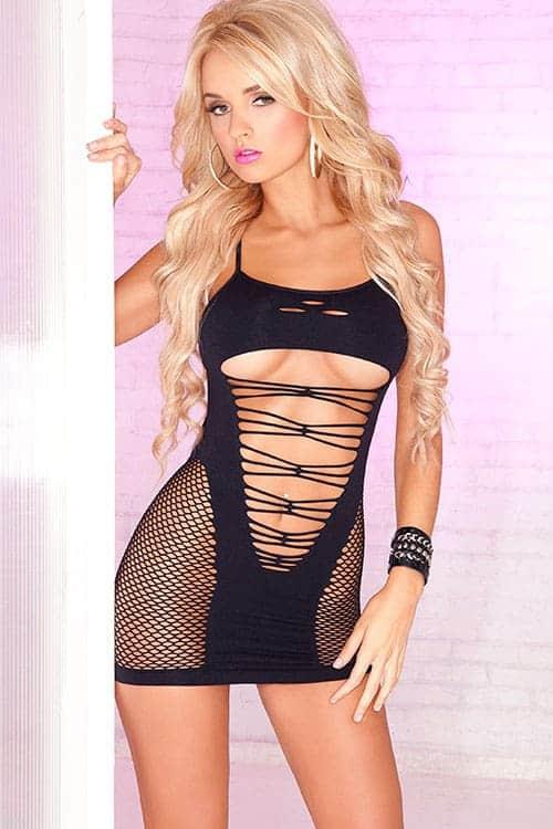 Pink Lipstick Seamless Black Bodystocking front
