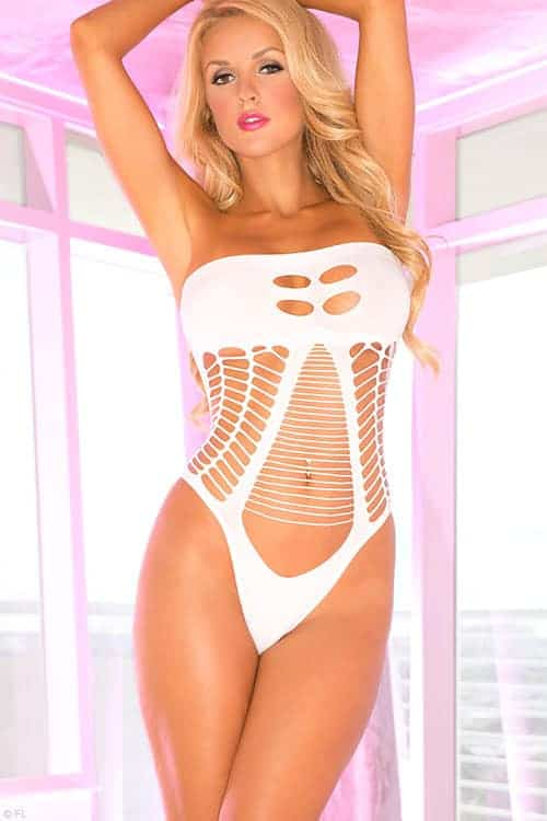 Pink Lipstick Seamless White Bodystocking Teddy front