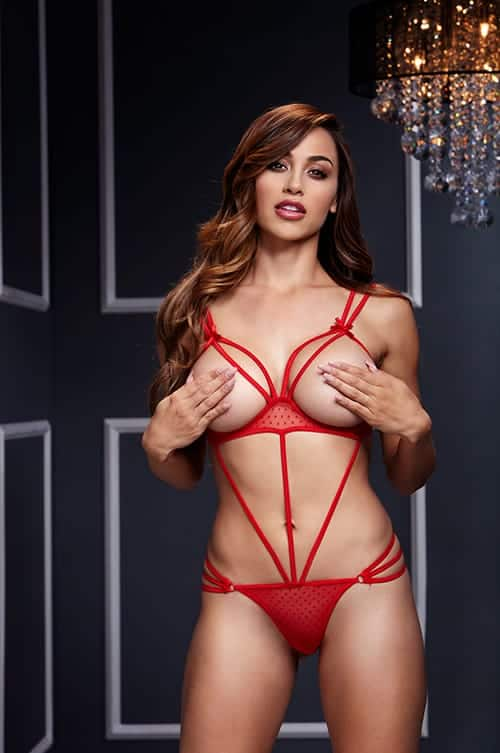Baci Strappy Red bodystocking front