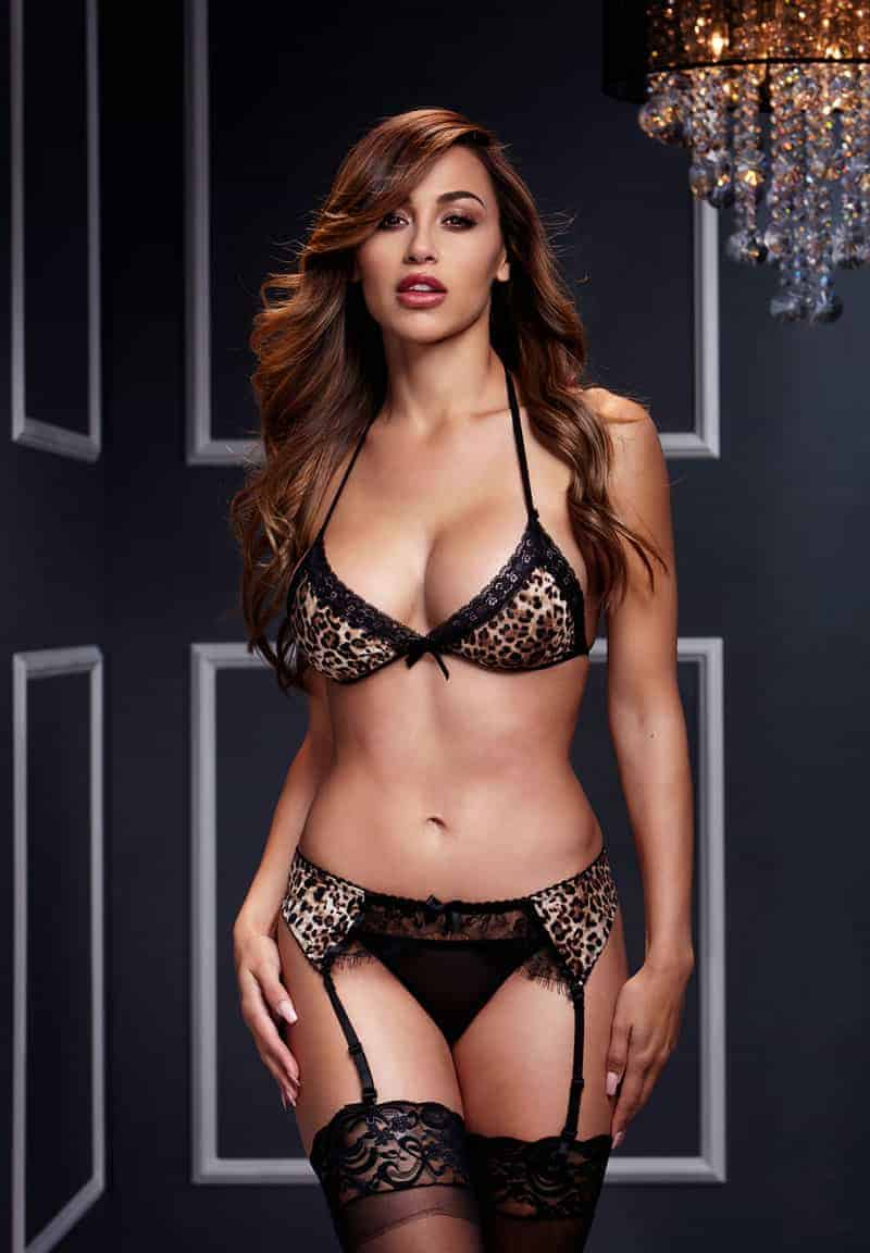 Baci Leopard and Lace Three Piece Bra Set front