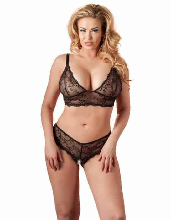 Cottelli Black Lace Lingerie Set-Plus front