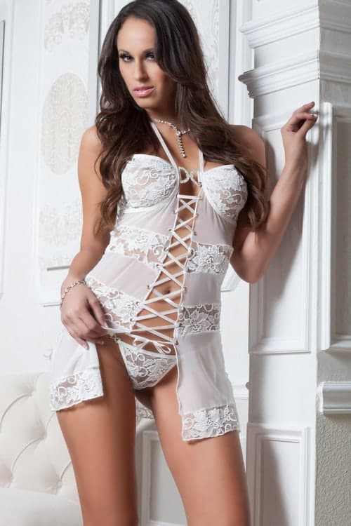 GWorld 2pc Dream Lace & Mesh Babydoll front