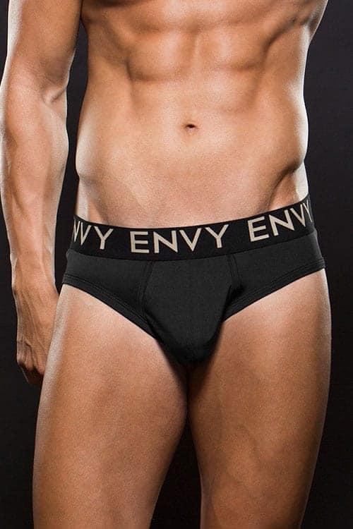 Envy Microfiber Low Rise Black Briefs E043 front