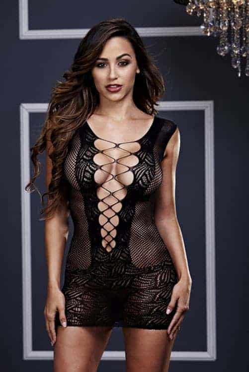 Baci Ultra Corset Lace Up Cut Out Bodystocking front