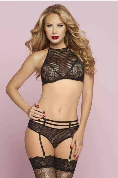 Seven Til Midnight Fishnet Bra Set front