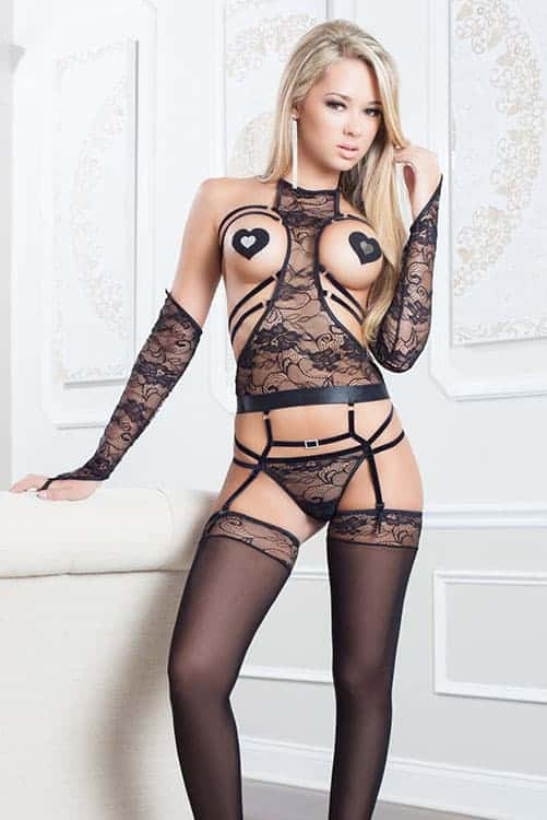 GWorld 4pc Femme Fatale Corset & Stockings front