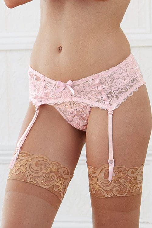 Dreamgirl Pink Lace Garter Belt front