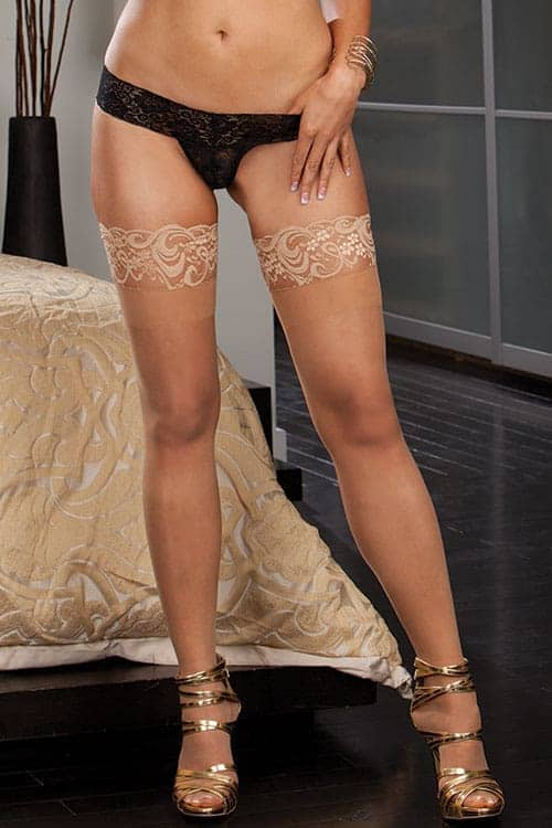 Dreamgirl Sheer Nude Thigh High with Lace Top front