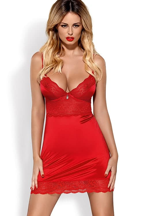 1bf81d9d7f3d2 Obsessive Lovica Red Chemise with Thong - Marys Secret Boutique