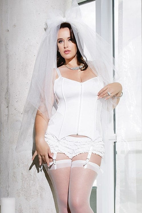 Coquette White Stretch Knit Corset Plus front