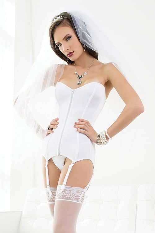 Coquette White Stretch Knit Corset front