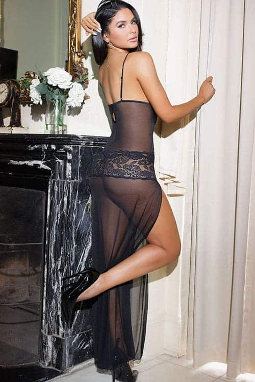 Coquette Mesh and Lace Long Gown back