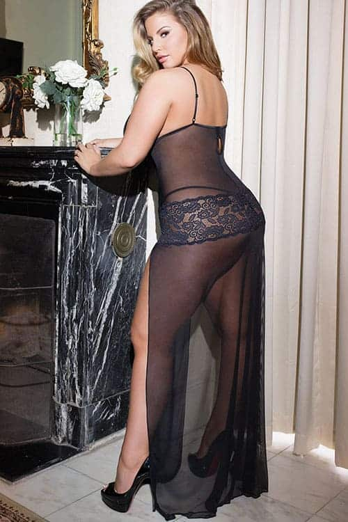 Coquette Mesh and Lace Long Gown back 2