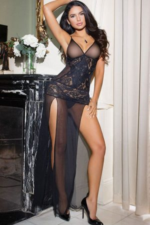 Coquette Mesh and Lace Long Gown front